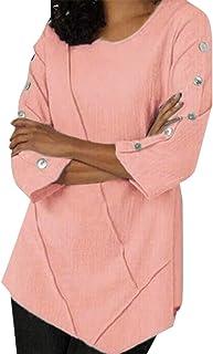 GAGA Women's Casual Solid Color Long Sleeve Loose Pullover Chiffon Shirt Top