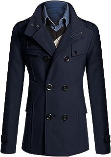 31aac5a790eade MISSMAO Uomo Classico Trench Cappotto di Lana Giacche Slim Fit Doppio Petto  Trench Cappotto