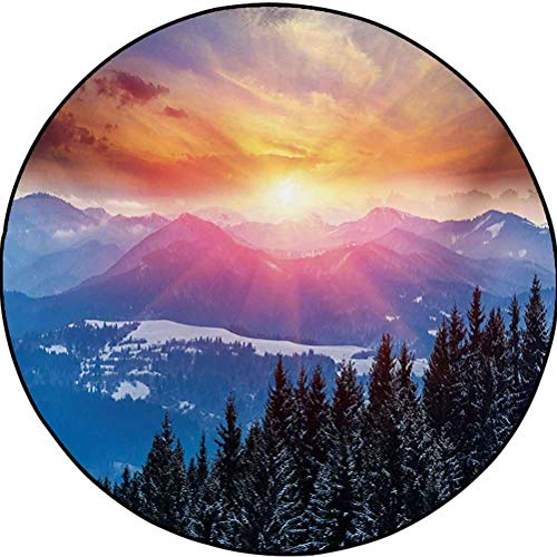 Winter Polyester Luxury Round Rugs Home Decorate Floor Kids Playing Mat Sunset in Mountains with Hazy Sky with Magical Dawn Horizon Theme Orange Blue 6.5 ft in Diameter