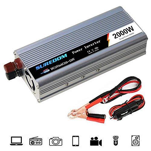 Auto Reiner Sinus Wechselrichter 500W/600W/800W/1000W/1200W/1500W/2000W Spannungswandler DC 12V/24V Auf AC 220V/230V/240V Umwandler - Inverter Konverter mit Steckdose und USB-Port,2000W-12Vto220V