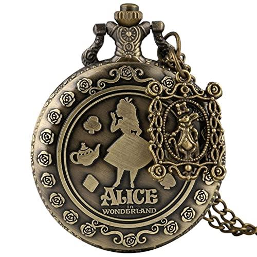 JQCHY Rétro Bronze rêve Alice au Pays des Merveilles Poker Quartz Montre de Poche chaîne Collier Pendentif pour Fille Femmes, avec béquille