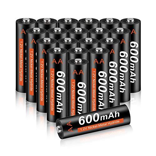 CITYORK AA-Batterien 20 Stück - AA 600mAh 1.2V NI-MH Akkubatterien, vorgeladen, geringe Selbstentladung Ideal für Solarleuchten, Fernbedienung, Elektrisches Spielzeug