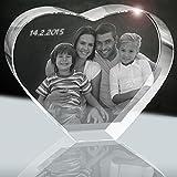 Cuore di Vetro con la Tua Foto Preferita (3D) | (160mm / XXL / 4kg) 1 a 5 Persone o Animali | Regalo Perfetto per la Famiglia