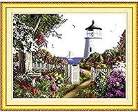 刺繍 海辺の花壇クロスステッチ 刺繍セット 初心者向けスタンプ済み刺繍キット 刺しゅうキット 完璧な壁の装飾 キャンバス-11CT 40×50cm-フレームなし
