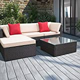 Devoko 5 Pieces Patio Furniture Sets All-Weather Outdoor Sectional Sofa Manual Weaving Wicker Rattan Patio...
