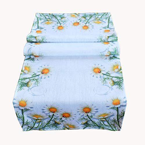 Raebel Runner da tavolo, 40 x 140 cm, tovaglia centrotavola estiva primavera decorazione tavolo bianco fiori colorati