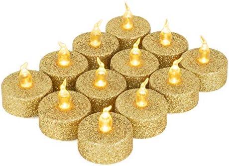 Christmas Glitter Gold Tea Lights Battery Operated Flameless LED Tea Light Gold Glitter Flickering product image