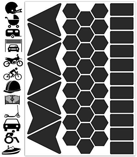 Biomar Labs® 45pcs x PVC Adesivi Rifrangenti Reflective Segnaletici Riflettenti per Sicurezza Notturna, Nero per Casco Passeggino Carovana Garage Bicicletta Scooter Motocicletta Recinto la Barca D 47