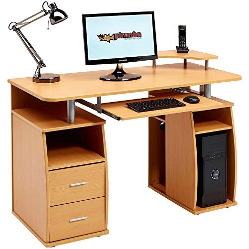 Piranha Trading Escritorio Mesa de Ordenador Despacho con Estantes, Armario y Cajones para la Oficina en Casa Efecto Madera Haya PC 5b