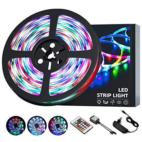 OUSFOT Tira LED, 5050 RGB Luces LED Habitación IP65 5m Control Remoto de 24 Claves Adaptador de Alimentación Iluminación-Ambiental Multicolor LED Iluminacion para Navidad Fiesta Bar Pasillo Jardín …