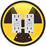 Rikki Knight RND-GFIDOUBLE-200 Nuclear Hazard Sign Round Double GFI Light Switch Plate, Yellow/Black
