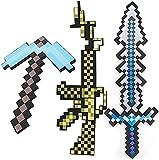Minecraft: espada de espuma, pistola, pico, accesorios de armas 3 en 1, espada de juego, fiesta temática, réplica de diamantes, carnaval, juego de imitación de fantasía para niños (3 combinaciones)