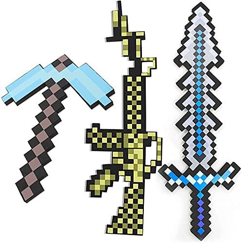 Espada de espuma Minecraft, espada de juego, réplica de diamante, pico, pistola, accesorios de armas 3 en 1, carnaval, fiesta temática, juego de imitación de fantasía para niños (3 combinacion