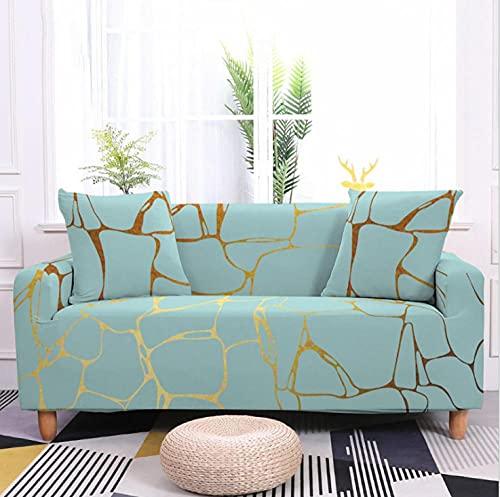 Fundas de Sofá Elastica 2 PlazasPatrón de mármol Azul Funda Cubre Sofa Regalar 2 Funda de Cojines Funda para Sofá Funda de sofá de Sillón Antideslizante Protector Cubierta de Muebles