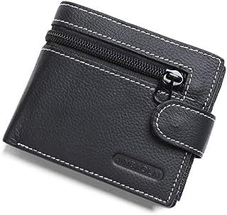 Jinbaolai classic Black Leather zip & hasp wallets For Men - Bifold Wallets
