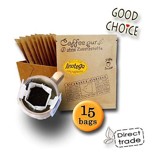 Life is You! Coffee Bags | Jinotega Kaffee aus NICARAGUA, von hand geerntet | 15 Coffee Bags (für Becher) | frisch und schonend handgerösteter Filterkaffee zum Aufbrühen in Premium Qualität