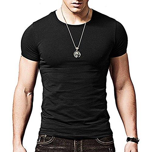ZUMUii Butterme T-Shirt Couleur Unie Ras du Cou à Manches Courtes Modal Classics Shirt de Base pour Les Hommes Hommes en différentes Couleurs (Noir,S)