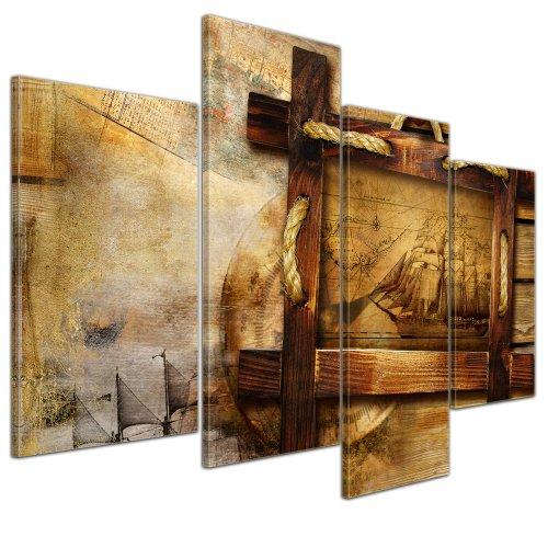 Cuadro retro de barco pirata Retro, 120 x 80 cm, 4 pzs.