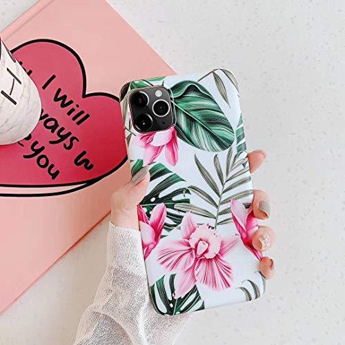 Saceebe Compatible avec iPhone 11 Pro Coque Fleur Feuilles Dessin Antichoc TPU Housse de Protection Silicone Motif Souple Etui Antichoc Ultra Mince Fine Housse Bumper,Fleur Rose