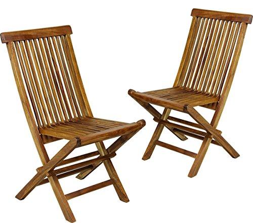 Lot de 2 chaises de Jardin en Teck huilé, chaises Pliantes