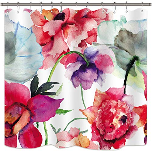 Riyidecor Watercolor Floral Shower Curtain Colorful Flower Peony Red White Decor Fabric Panel Bathroom 72x72 Inch 12 Pack Plastic Hooks Included