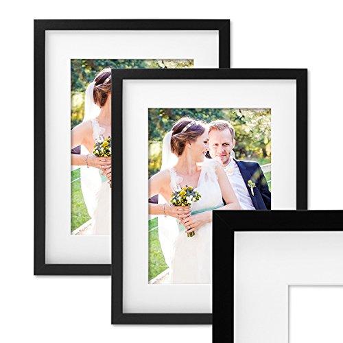 Photolini Set de 2 Marcos de Fotos de 30x40 cm, Marco 3D, en Color Negro, Marco-MDF, con Soporte y Cristal/Marco de Fotos
