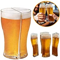 2 PCSビールジョッキスーパーキャラバンデザインにより、一度に4杯のビールを簡単に運ぶことができますスーパーキャラバンパーティーディスペンサーアクリルバランスカップビストロスタイルのホームダイニングカート小さなバー