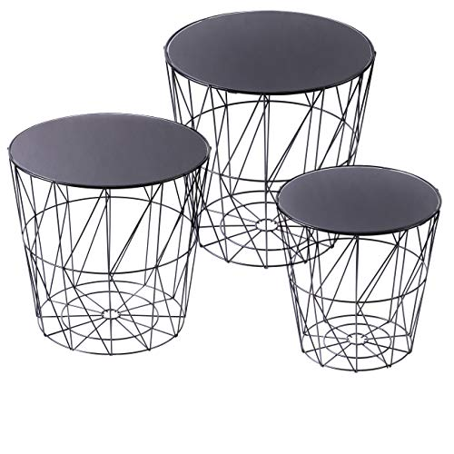 Urban Living - Beistelltischset zu 3 Stück Schwarz - Rund Metall - Modern