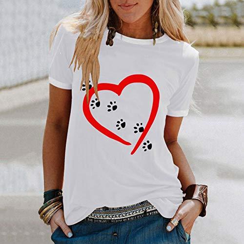 YANFANG Camiseta Camisas de Manga Corta Talla Grande con Cuello Redondo y Estampado de corazón Informal a la Moda para Mujer, Blusa Superior, Jersey Fiesta Pareja