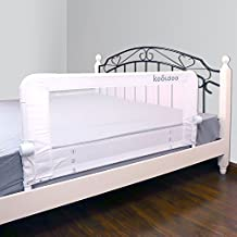 KOOLDOO 59 Inches Fold Down Toddlers Safety Bed Rail Children Bed Guard with NBR Foam Include 1pcs Seat Belt (White)