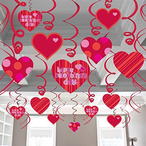 Valentine Hanging Hearts For Valentine Day Decorations - Pack Of 36 | Valentines Party Decorations | Valentines Decorations For Home | Valentines Day Hanging Decoration | Valentines Hanging Swirls