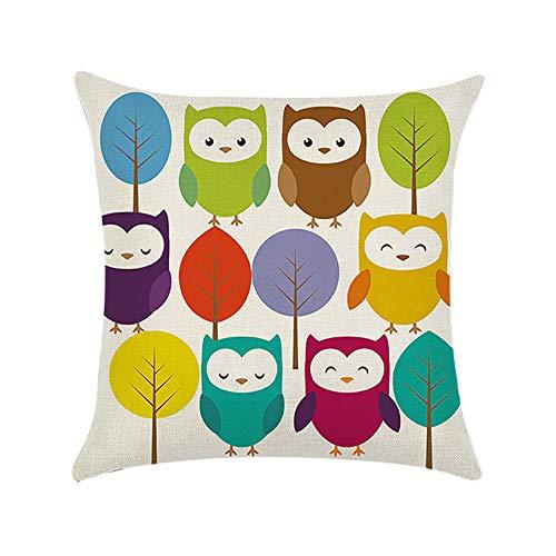 Chytaii. Fundas de Almohada 45x45cm Funda de cojín Búho Pillow Cases Covers Sofa Decoración del hogar para Escritorios Cafés Sillas Y Automóviles