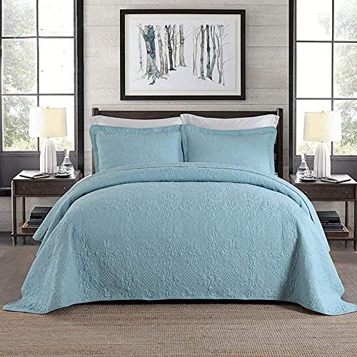 NundU Blaue Tagesdecken Bettüberwürfe 100prozent Baumwolle Gesteppte Tagesdecke Doppelgröße 230x250cm Phoenix Tail Muster Stickerei Tröster 3-teilige Multifunktionsquilts All Seasons Tagesdecke mit 2