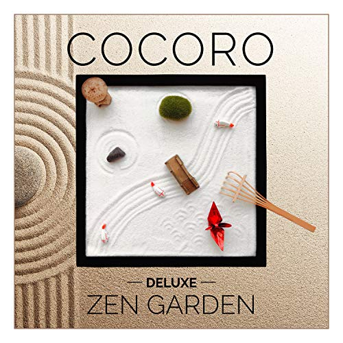 COCORO Desktop Zen Garden for Desk and Office (9.84 x 9.84 inch) Accessories Includes Zen Garden Sand, Rocks, Rake, Moss Stones, Fishes, Lantern, Bridge, and Origami