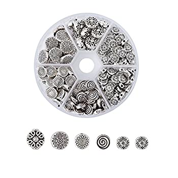 Kissitty 175pcs/box 5 Styles Tibetan Antique Silver Flat Round Spacer Loose Beads 7mm 8mm 9mm 10mm 11mm Metal Rondelle Disc