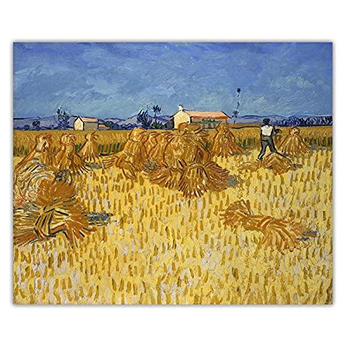 Cuadro de arte de pared de lienzo.(Cosecha en la Provenza) de Van Gogh Reproducción de pintura famosa, Decoración de pared 60x75cm (24x30in) Sin marco