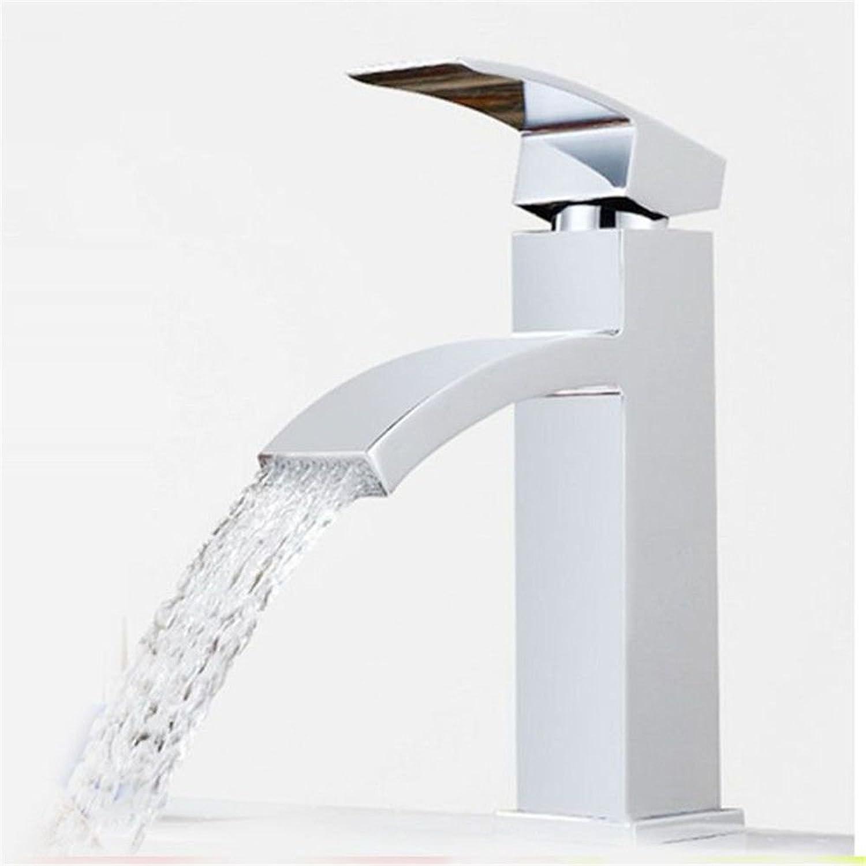 ETERNAL QUALITY Badezimmer Waschbecken Wasserhahn Messing Hahn Waschraum Mischer Mischbatterie Zinklegierung Hahn Tippen Sichel Flachdüse Wasserfall Waschbecken und kalte