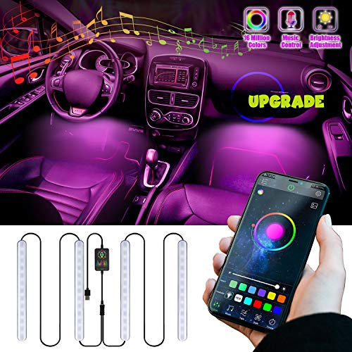 Upgrated Interior Car LED Strip Lights,4pcs 48 LED Bluetooth App Inside Neon Lights Multi Color Music Sync Truck Led Lights USB Floorboard Under Dash Atmosphere Lighting Kit Wireless Remote Control