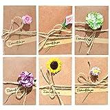 Qixuer 30 Piezas Tarjeta de Felicitación Papel Kraft Sobres con Flores Secas Sobres en Blanco Tarjeta de Felicitación para Navidad Cumpleaños Fiesta AñoNuevo (6Tipos de Flores) (7 * 10.5 cm)