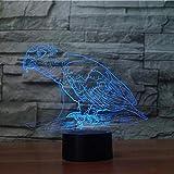 Luz nocturna para niños con diseño de pájaro de animales en 3D, 7 luces LED intercambiables 3D, lámpara decorativa de mesa USB LED para niños, regalo para niños
