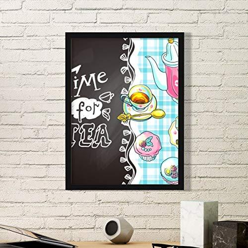DIYthinker Tijd Voor Thee Cupcake Theepot Frankrijk Eenvoudige Fotolijst Kunst Prints Schilderijen Thuis Muursticker Gift
