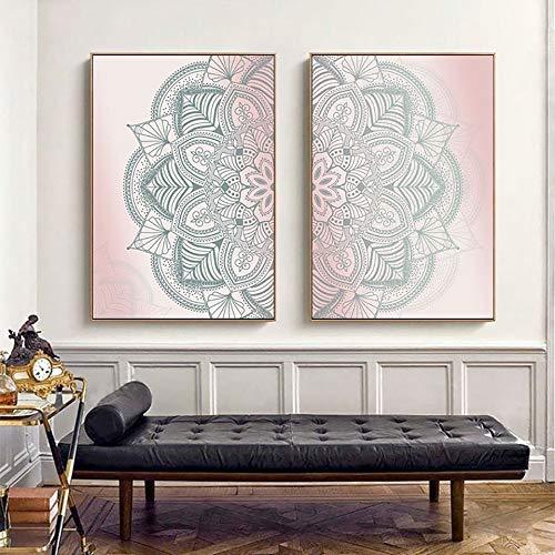 Preisvergleich Produktbild ganlanshu Marokko Boho Mandala Hauptdekoration HD Nordic Nachttisch Poster, Rahmenlose Malerei, 50X75cmx2