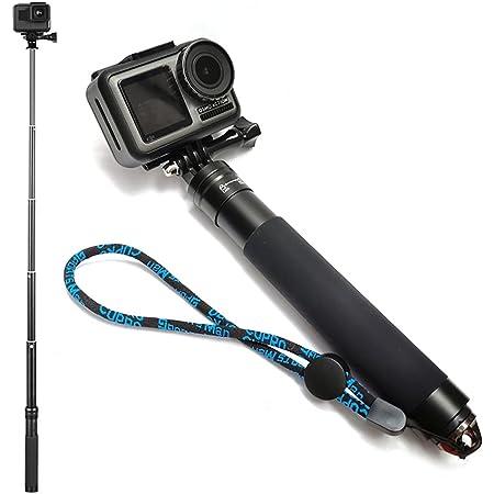 伸縮可能アルミニウム 自撮り棒 一脚 GoPro用 ハンドヘルド伸縮一脚 ハンドグリップ GoPro Max/9/8/7/6/5/4 DJI OSMO Insta 360 One R アクションカメラ用 (自撮り棒 - シンプルバージョン)