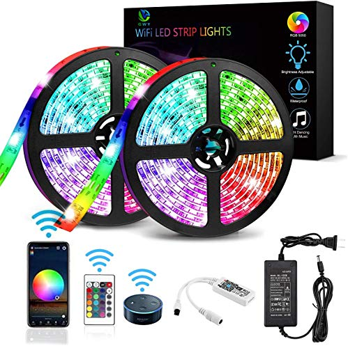 LED Strip Lights, WiFi Wireless Smartphone Controlled Music RGB 32.8 FT Led Rope Light LED Tape Light Work with Android iOS System, Alexa,Google Assistant APP for Room,TV, Party, DIY Decoration