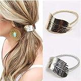GUAngqi Women Girls Leaf Hair Rope Hair Band Metallic Hair Rope Elastic Ponytail Holder Hair Accessories Hair Cuff Headdress Rope Elastic Hair Ties,Gold
