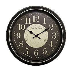 Geneva Plastic Wall Clock with Latte Rub Finish, 15.75-Inch