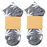 Fablcrew Grau Sommer Boot Socken Fliegendes Weiß Ahornblattmuster Hanfblatt Socken Harajuku-Stil Sport Basketball Bekleidungszubehör für Herren