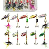G.S YOZOH 10Pcs Spinnerbait Fishing Lure for Bass Trout Hard Metal Spinner Baits Freshwater Saltwater Bass Fishing Lures Kit with Tackle Box