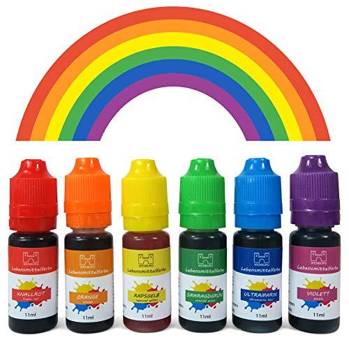 Wenburg Regenbogen Lebensmittelfarbe, 6 x 11ml. Made in EU. Hochkonzentriert, zuckerfrei, flüssig. Farben Set, zum Färben von Teig, Getränken, Slime