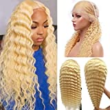 Curly Wave 13x4 Blonde Lace Front Wig Brazilian Virgin Hair for Black Women Glueless Lace Frontal Wig Human Hair Pre Plucked Water Wave 9A Remy Hair Wigs #613 Blonde 14Inch Wigs,Can Be Restyle